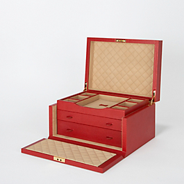 Leather 3-drawer-jewellery-box