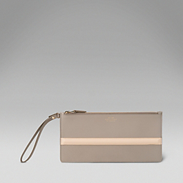 Leather Stripe Clutch