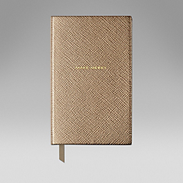 Leather 'Make merry' panama notebook