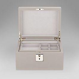 Leather jewellery box with tray