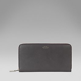 Leather zipped travel wallet