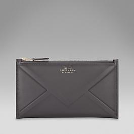 Leather embossed envelope zip purse