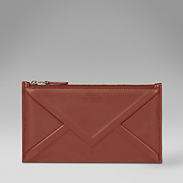Leather embossed envelope zip purse