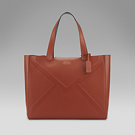 Leather embossed envelope tote