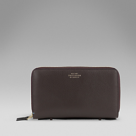 Leather Double Zip Travel Wallet