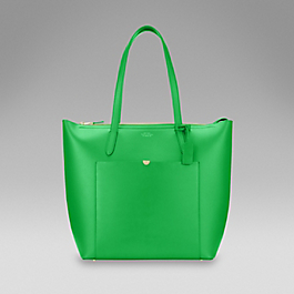 Leather North South Zip Tote