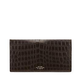 Schmale Reisebrieftasche aus Krokodilleder