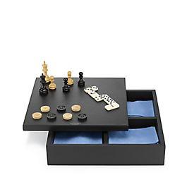 Boîte de jeux triple en cuir