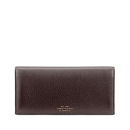 Leather Slim Coat Wallet with Zip Pocket