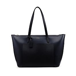 Leather East West Zip Tote