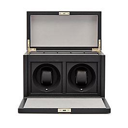 Boîte en cuir pour montres avec mécanisme tournant