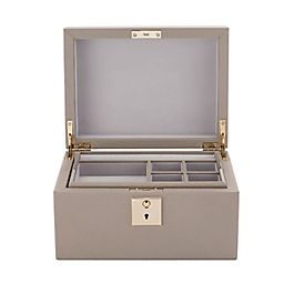 Boîte à bijoux en cuir avec plateau