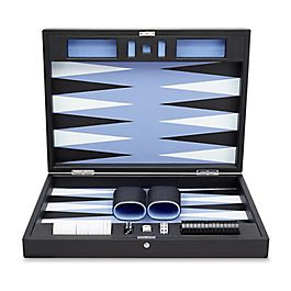 Grand coffret de backgammon en cuir
