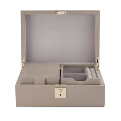 Grosvenor Jewellery Box with Travel Tray in dove grey calf leather