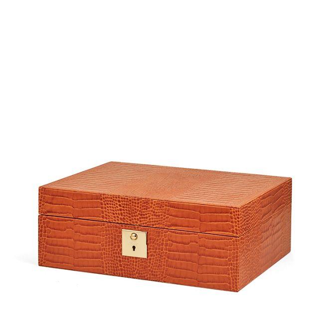 bo te bijoux avec plateau de voyage mara en cuir de veau papaye smythson. Black Bedroom Furniture Sets. Home Design Ideas