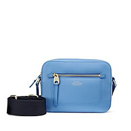 Leather Crossbody Bag with Fabric Strap