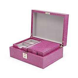 Leather Jewellery Box with Travel Tray